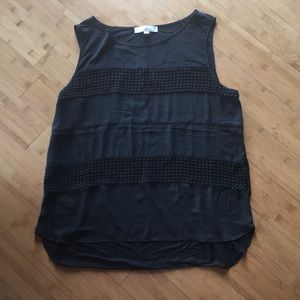 LOFT crochet detail black tank (XL)